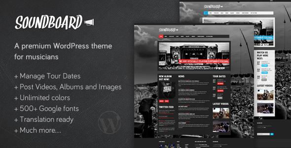 Live Preview of Soundboard - a Premium Music WordPress Theme