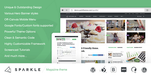 Live Preview of Sparkle - Outstanding Magazine theme for WordPress