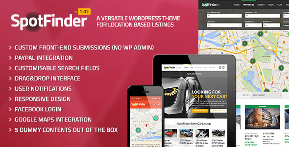 Live Preview of SpotFinder - A Versatile Wordpress Listings Theme