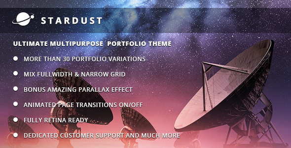 Live Preview of Stardust - Multi-Purpose Portfolio WordPress Theme