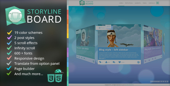 Live Preview of Storyline Board WordPress Theme