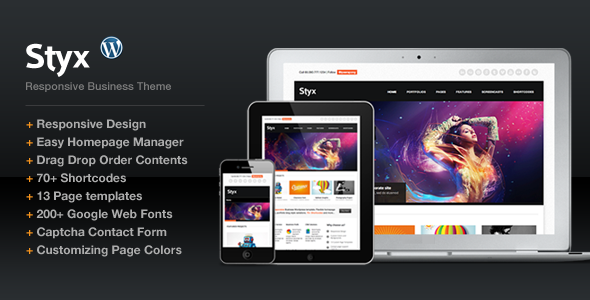 Live Preview of Styx Responsive Design for Business Portfolio