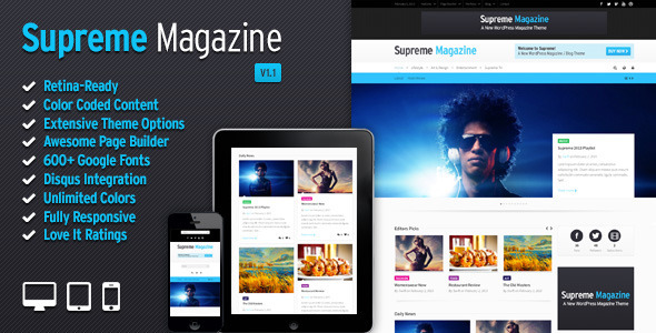 Live Preview of Supreme - Retina Responsive Magazine/Blog WP Theme