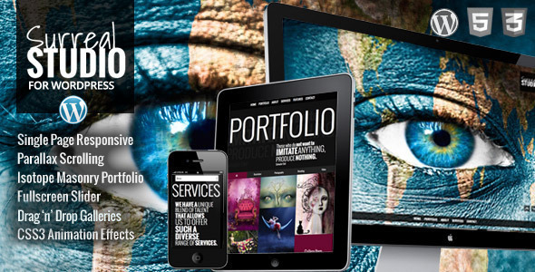 Live Preview of Surreal - One Page Parallax WordPress Theme