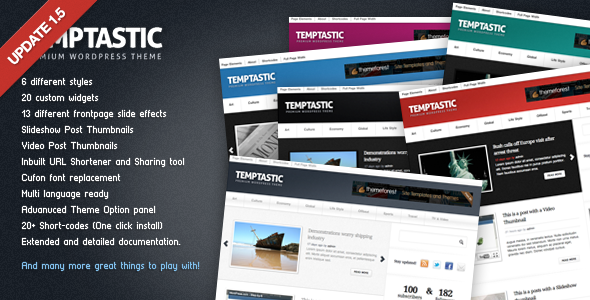 Live Preview of Temptastic - Premium WordPress Magazine Theme