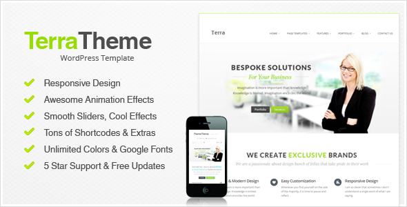 Live Preview of Terra - Responsive Multi-Purpose Wordpress Templete