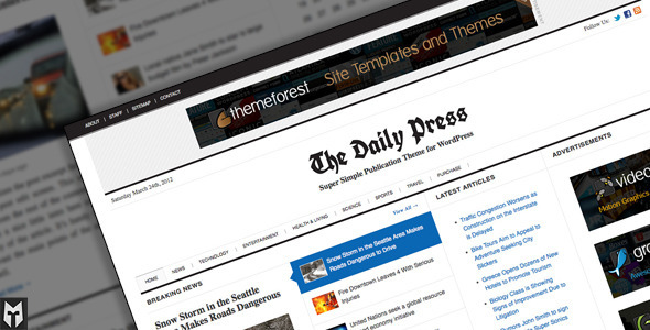 Live Preview of The Daily Press: Super Simple WP Publication Theme