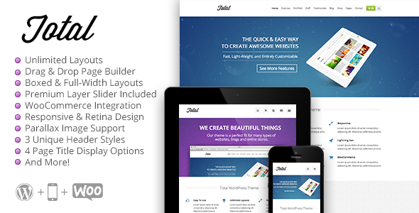 Live Preview of Total - Responsive Multi-Purpose WordPress Theme