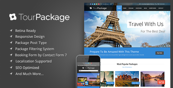 Live Preview of Tour Package - Wordpress Travel/Tour Theme