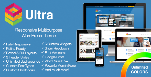 Live Preview of Ultra Responsive Multipurpose WordPress Theme