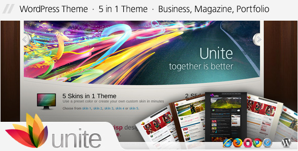 Live Preview of Unite - WordPress Negócios, Revista Tema