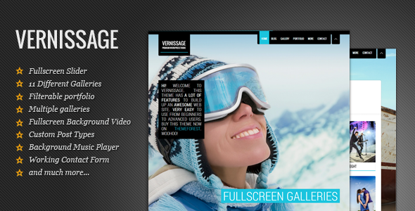 Live Preview of Vernissage: Responsive Photography/Portfolio Theme