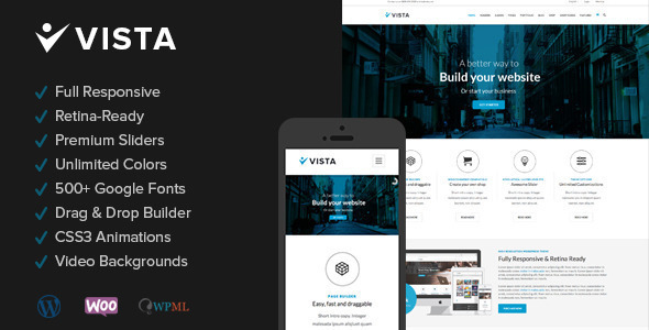 Live Preview of Vista - Responsive Multi-Purpose Wordpress Theme
