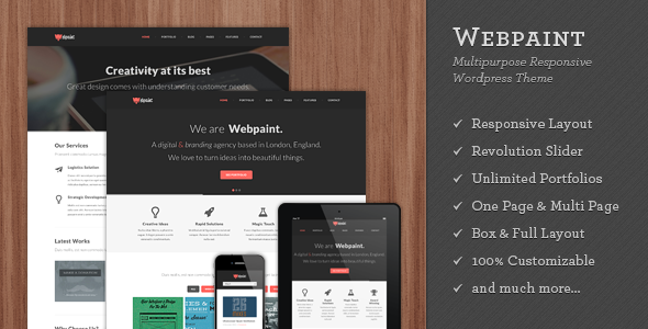 Live Preview of Webpaint - 2 in 1 Responsive WordPress Theme