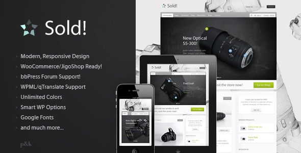 Live Preview of WordPress Sold! Responsive/E-Commerce Theme