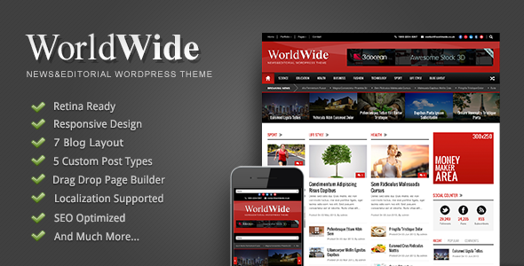 Live Preview of World Wide - Responsive Magazine WP Theme