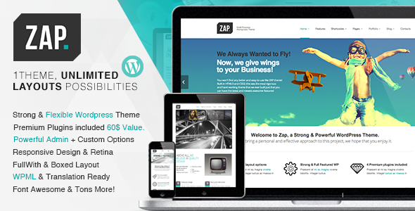 Live Preview of ZAP - Responsive Multi-Purpose Wordpress Theme