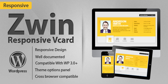 Live Preview of Zwin - Responsive vCard Wordpress Theme