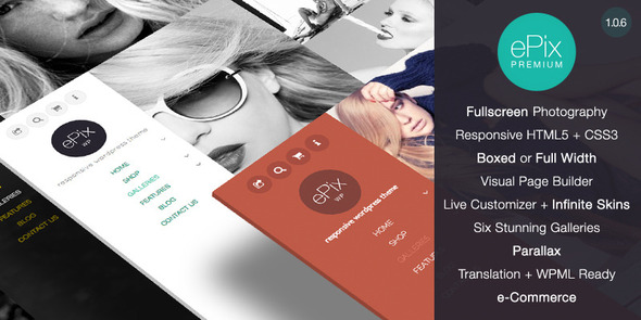 Live Preview of ePix - Fullscreen Photography WordPress Theme