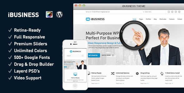 Live Preview of iBUSINESS Retina Responsive Multi-Purpose Theme