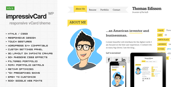 Live Preview of impressivCard WP - Responsive HTML5 vCard